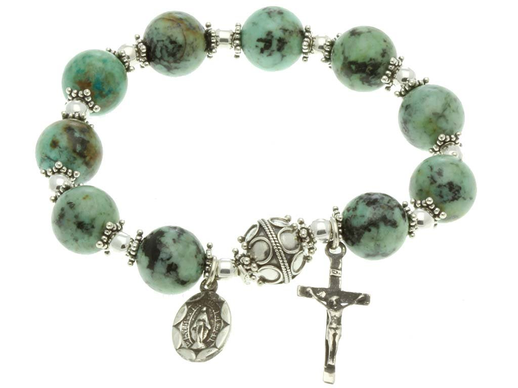 Sterling Silver Rosary, Turquoise 10mm, Elastic Rosary Bracelet