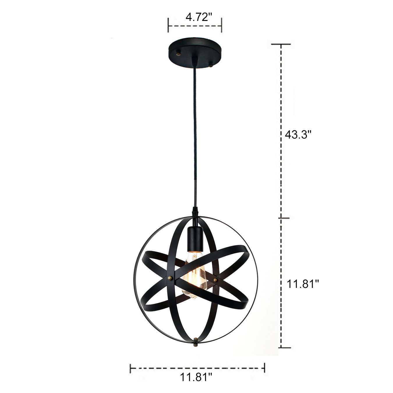 Pauwer Industrial Spherical Pendant Light Vintage Sphere Chandelier Lighting Glob Hanging Light Fixtures (Black B) by Pauwer (Image #2)
