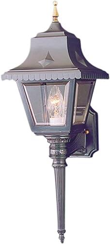 Thomas Lighting SL9235-7 1-Light Black Outdoor Wall Lantern, Clear Beveled Acrylic, Brass Accents