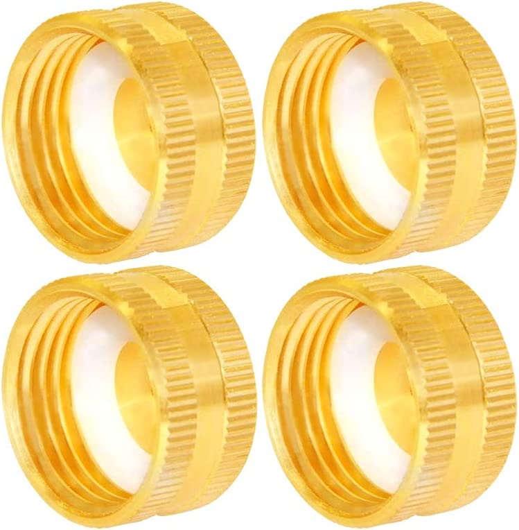 """Joywayus 3/4"""" GHT Female Garden Hose Cap Brass Watering Fittings with Washers(Pack of 4)"""