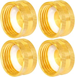 "Joywayus 3/4"" GHT Female Garden Hose Cap Brass Watering Fittings with Washers(Pack of 4)"