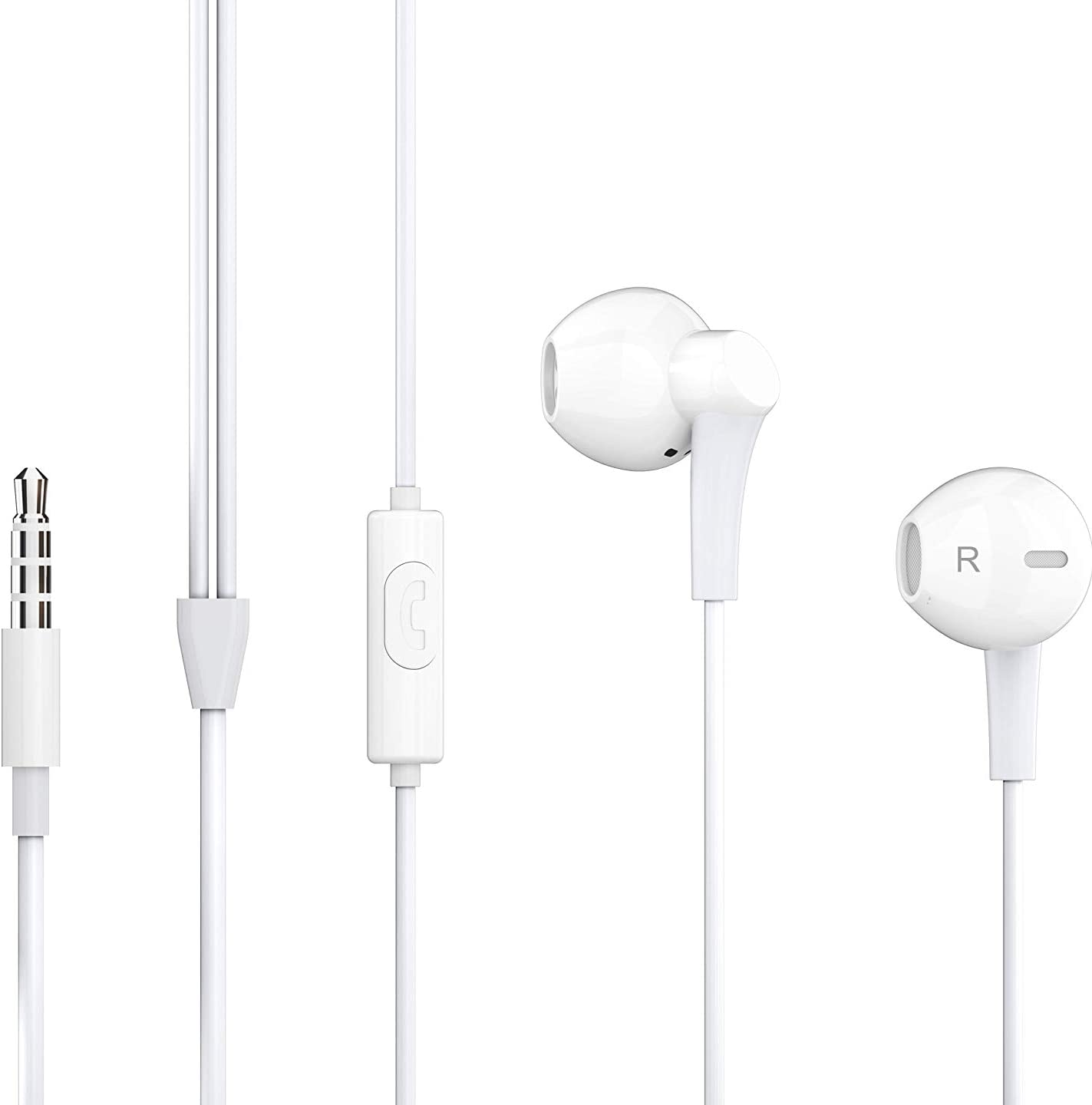 Earphones/Earbuds Wired Half in-Ear Headset 3.5mm Jack and 3.92ft Long with Microphone and Controller Button Suitable for All Android, Microsoft Devices, and Some Apple Devices.