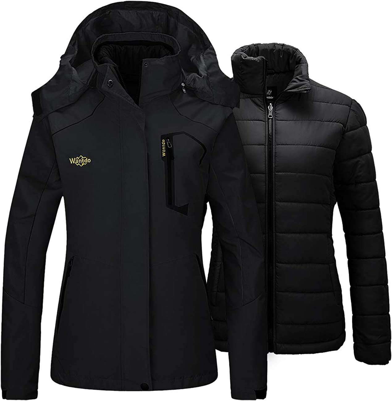 Wantdo Women's 3 in 1 Ski Jacket Waterproof Raincoat with Removable Puffer Inner