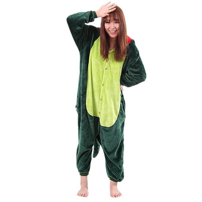 BOMOVO Pijama Ropa de Dormir Animal Disfraces Cosplay Halloween Dinosaurio Adulto Unisex para Hombre Mujer de