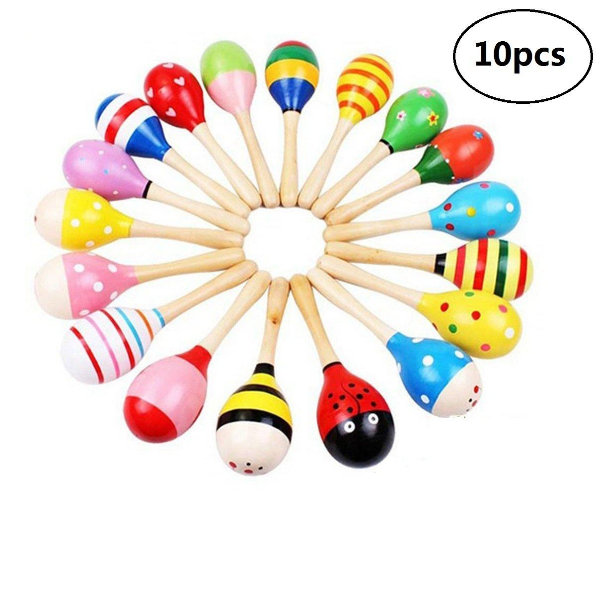 EBTOYS Wooden Maraca Wood Rattles Egg Shaker Kids Musical Educational Toys Party Favor 10 Pack (Random Color Pattern)