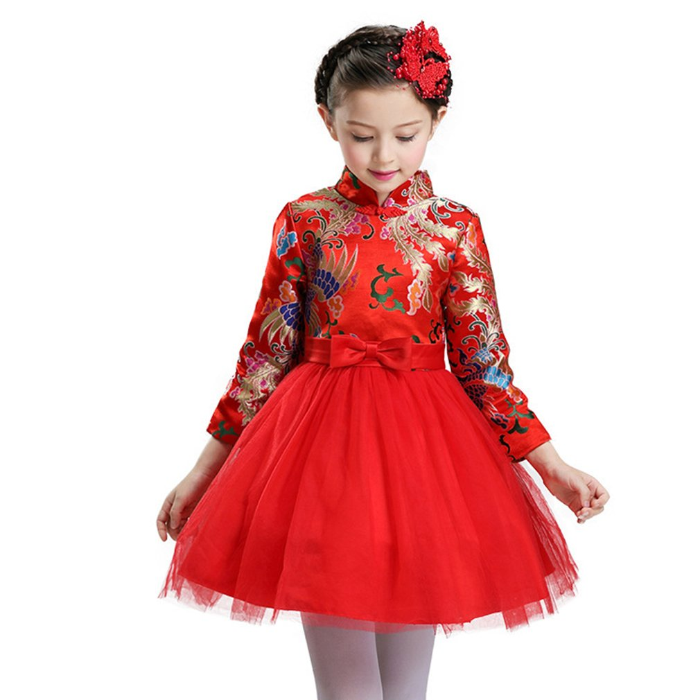NSPSTT Kids Girl Vintage Princess Dresses Long Sleeve Tulle Skirt Embroidered Flower Pageant Wedding Dress