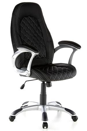 hjh OFFICE 621375 silla gaming RACER DELUXE piel sintética negro, buen acolchado, respaldo alto