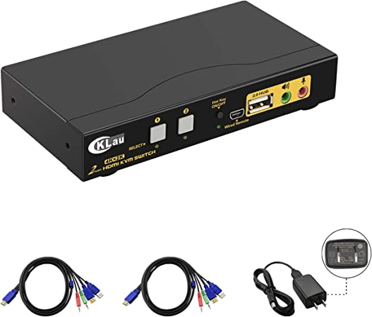 Lvhan HDMI KVM Switch USB 2 Ports Computer KVM Umschalter,4K KVM Switch Maus Tastatur teilen Unterst/ützung