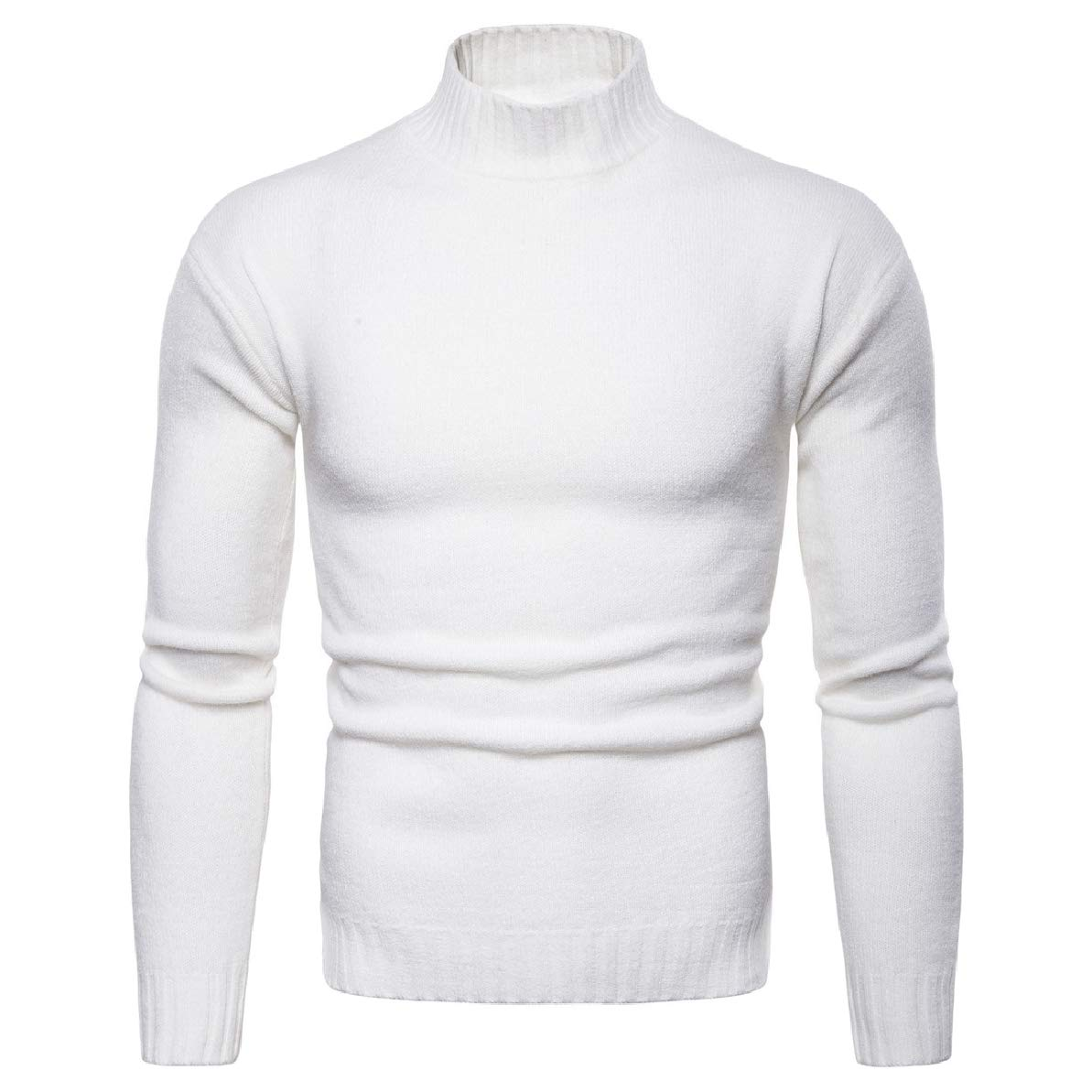 Zimaes-Men Solid Long Sleeve Trim-Fit Turtleneck Knitted Sweater Pullover