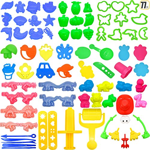 77 Pcs Play Dough doh Tools Set Various Plastic Playsets Playdough Accessories Set for Girls and Boys by Hevout