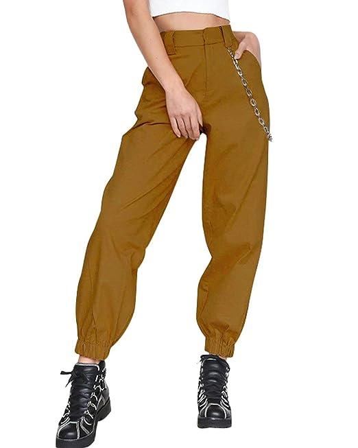 ORANDESIGNE Mujer Pantalones Verano Casual Deportivos Cargo Pantalón con Cadena Unisexo Deporte Fitness Running Yoga: Amazon.es: Ropa y accesorios