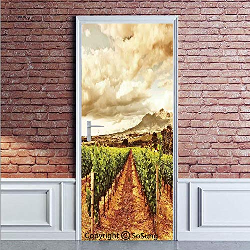 Door Decal Door Stickers Decor Grape Valley Clouds Over Vineyard Natural Fruit Plantation in Autumn Garden Theme Removable Wall Mural Wallpaper for Home Decor,30.3