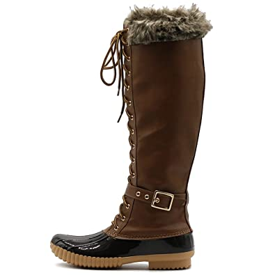 1aede861c4b1c Ollio Women s Shoe Knee High Lace Up Faux Fur Buckled Duck Boots DCK10HI  (8.5 B