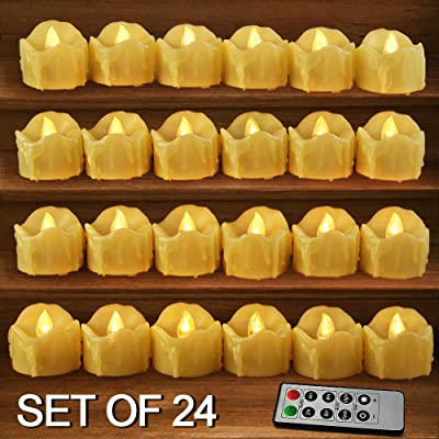 HOME MOST Set of 24 LED Votive Candles with Remote and Timer (CREAM) - LED Flameless Votive Candles Flickering - Wedding Votive Candles Battery Operated Bulk Rustic Wedding Decorations Reception Table: Home & Kitchen