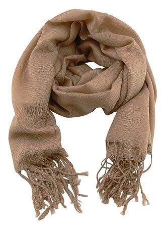 Accessoire Top Tendance Écharpe Chèche Pashmina Homme Camel Couleur Unie  Très Doux 198cm x 90cm 8a0e48bef1b