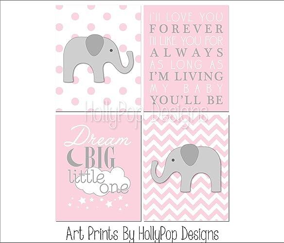 Amazoncom Baby Elephant Wall Art Baby Girl Nursery Decor Pink
