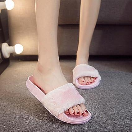 a53cf440e5cc D-XinXin Womens Ladies Slip On Sliders Fluffy Faux Fur Flat Slipper Flip  Flop Sandal