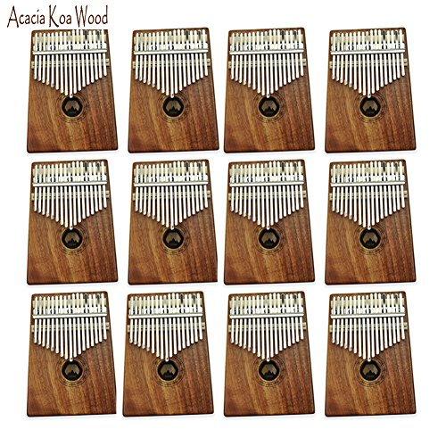 AXHJ Kalimba 17 keys with Instruction and Tune Hammer, Portable Thumb Piano Mbira Sanza Acacia Koa Wood Body Ore Metal Tines 1 (2 Piece Acacia Silicone)