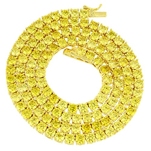 "MASTER OF BLING 18"" Tennis Link Necklace Canary Lab Diamonds 4 MM Solitaire Round Cut Chain Classy"