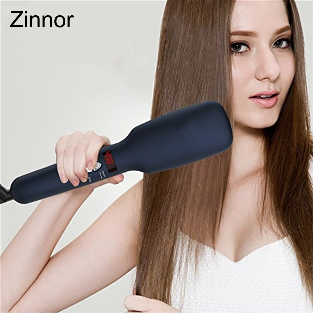 Zinnor Portable Electric Anti Scald Hair Straightener Brush Comb Straightening Hair Ionic Hair Care Faster Straightening Styling Tools Ceramic Heating Adjustable Temperature