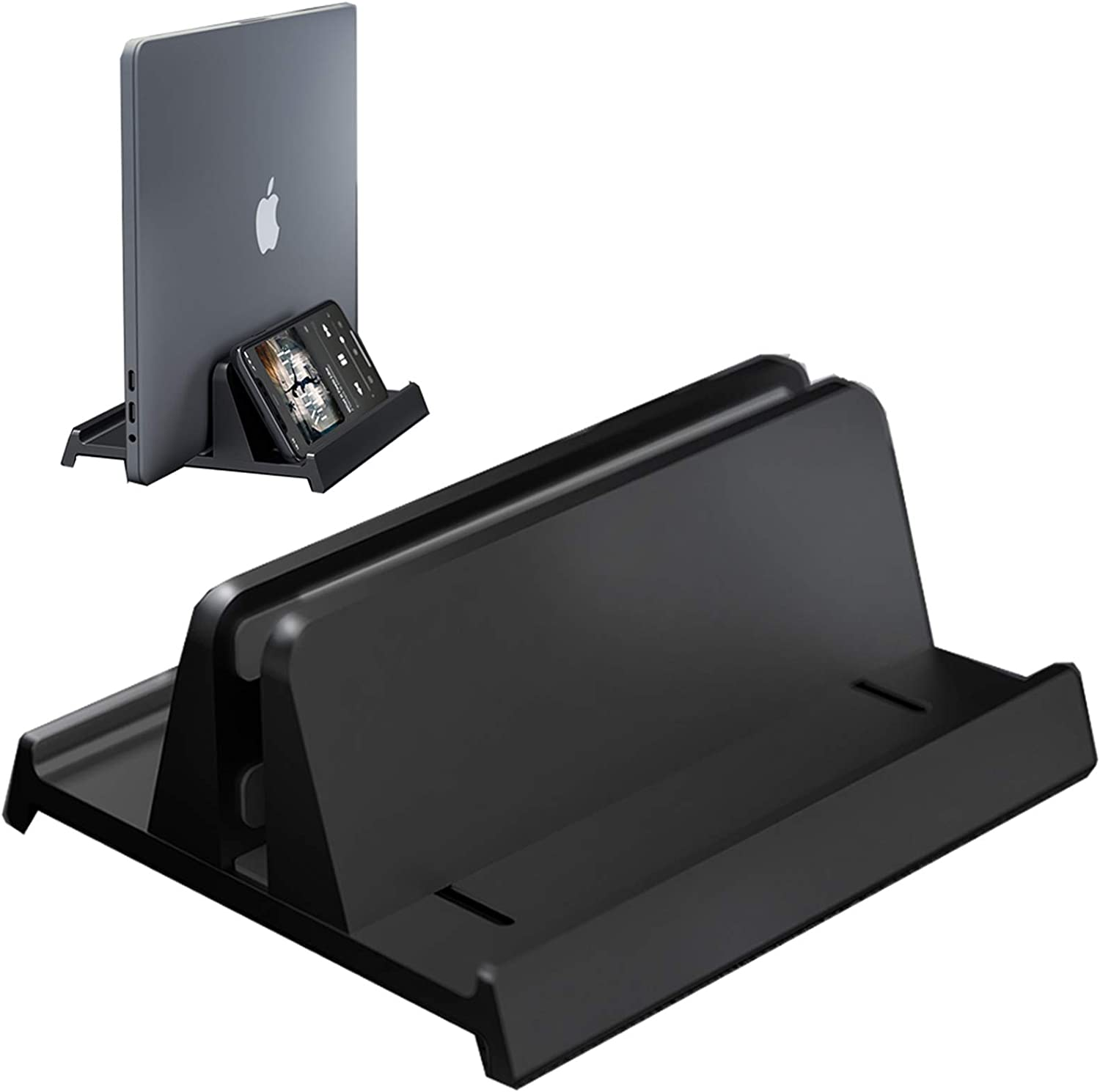 Vertical Laptop Stand Holder,Newly Designed Adjustable Desktop Notebook Dock 3 in 1 Space-Saving Stand for MacBook Pro Air,iPad,HP,Dell,Microsoft Surface,Lenovo up to 17 inches (Black)