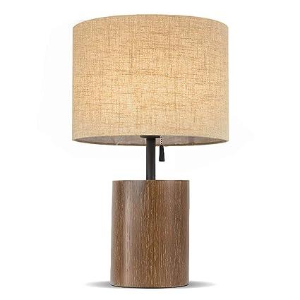 Lámpara de mesa base de madera - poste de hierro con ...