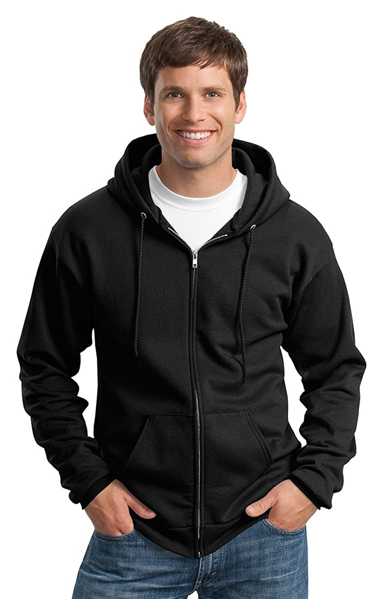2XL Port /& Company Full Zip Hooded Sweatshirt Ash