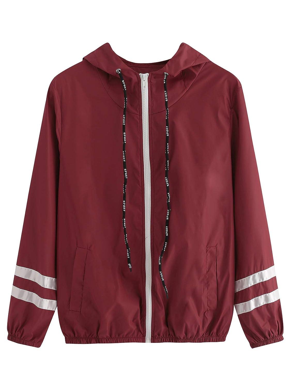 Burgundy SweatyRocks Women's Casual Sport colorblock Drawstring Hooded Windbreaker Jacket