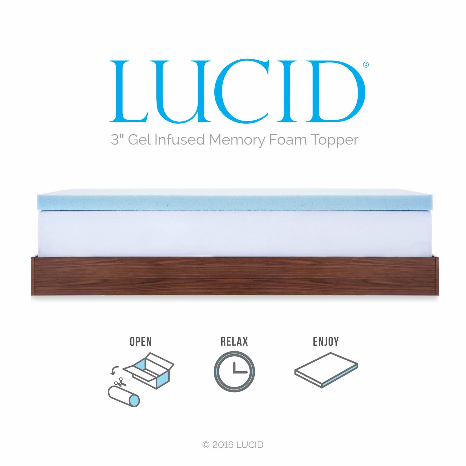 Amazon.com: LUCID 3-inch Gel Memory Foam Mattress Topper - Twin XL: Kitchen  & Dining