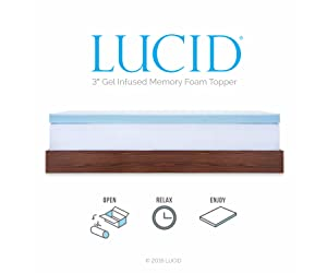 LUCID 3-inch Gel Memory Foam Mattress Topper – Queen