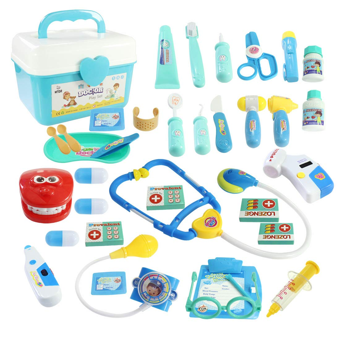 WTOR Toy 36Pcs Doctor Kit Pretend Play Doctor Set Toys Medical Kit for Toddler Boys Girls Children's Birthday School Classroom and Doctor Role Play