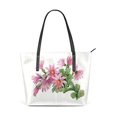 Amazon.com  Women Leather Handbags Pink Flower Top Handle Shoulder ...