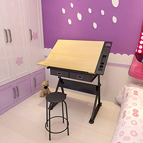 Lgan Tiltable Drawing Table Adjustable Art Desk With Storage Craft Table Drafting Table Maple Panel Child Adult Drawing Desk Home Kitchen