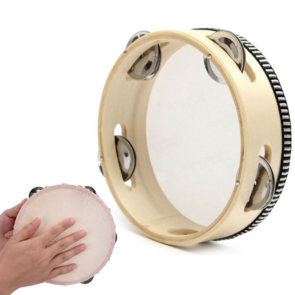 Hand Held Tambourine Beat Hand Drum Bell Birch Round Metal Rings Wooden & Leather Percussion Musical Educational Toy Gift Instrument for Kids Party Games (Beige, 6 Inch) Paul Harden ORF2#