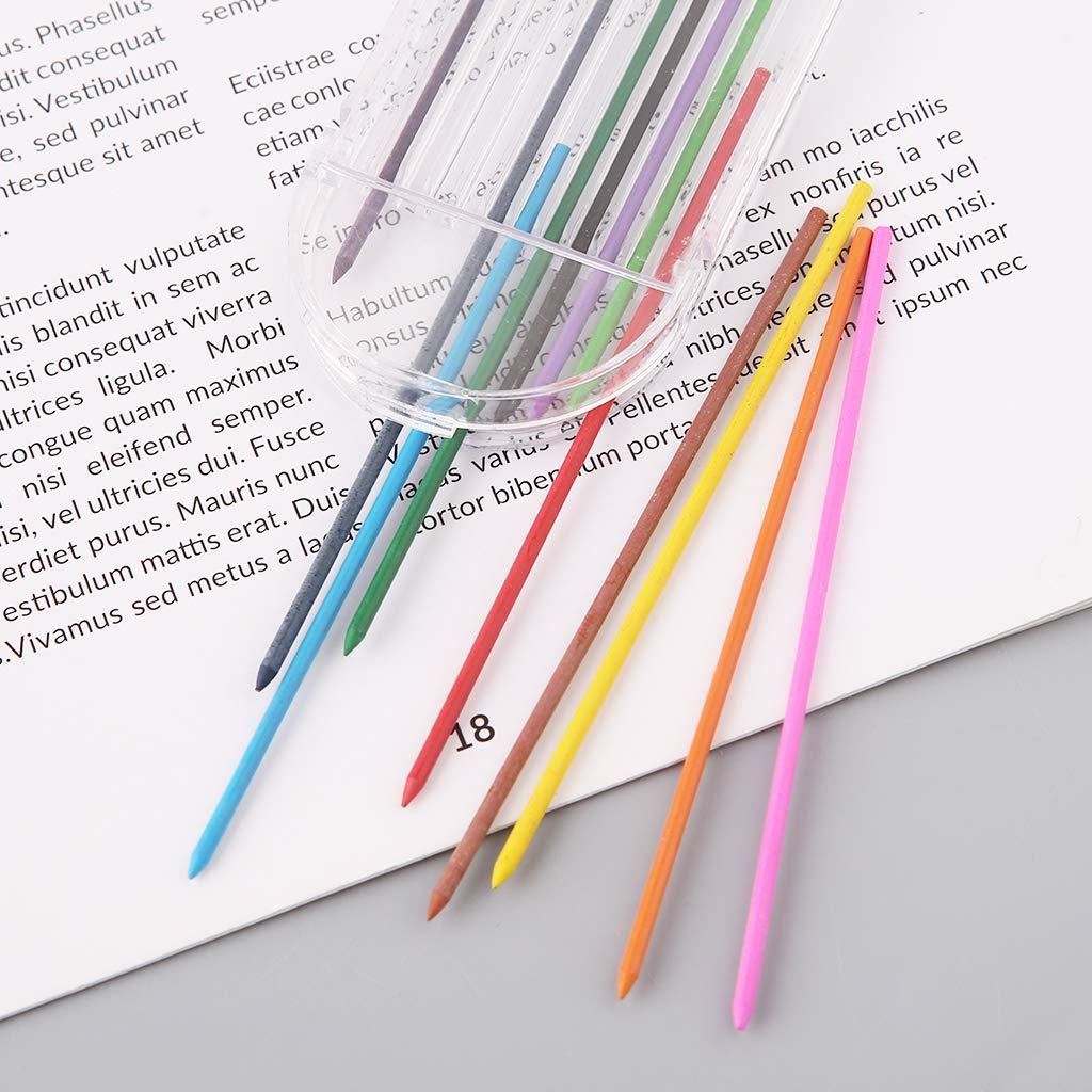 YOFO 12Pcs 2,0 Mm Druckbleistift F/ärbt 2B Mine Refills Draft Drawing Writing Crafting Art Skizzieren Schule Schreibwaren B/ürobedarf