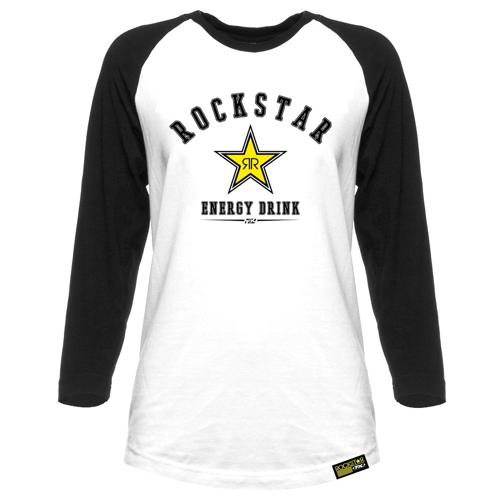 White//Black, XX-Large ROCKSTAR Womens Raglan Baseball Shirt Factory Effex 17-86608