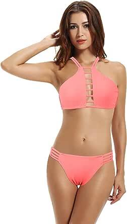 zeraca Women's High Neck Bikini Bathing Suit