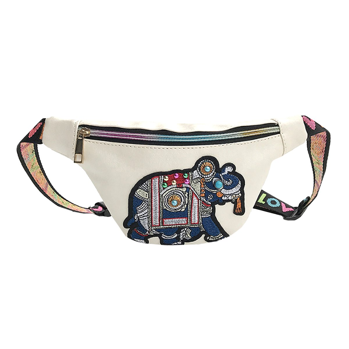 CLARA Women Fashion Elephant Embroidery Fanny Pack PU Leather Waist Bag Zipper Phone Pouch for Festivals and Raves White