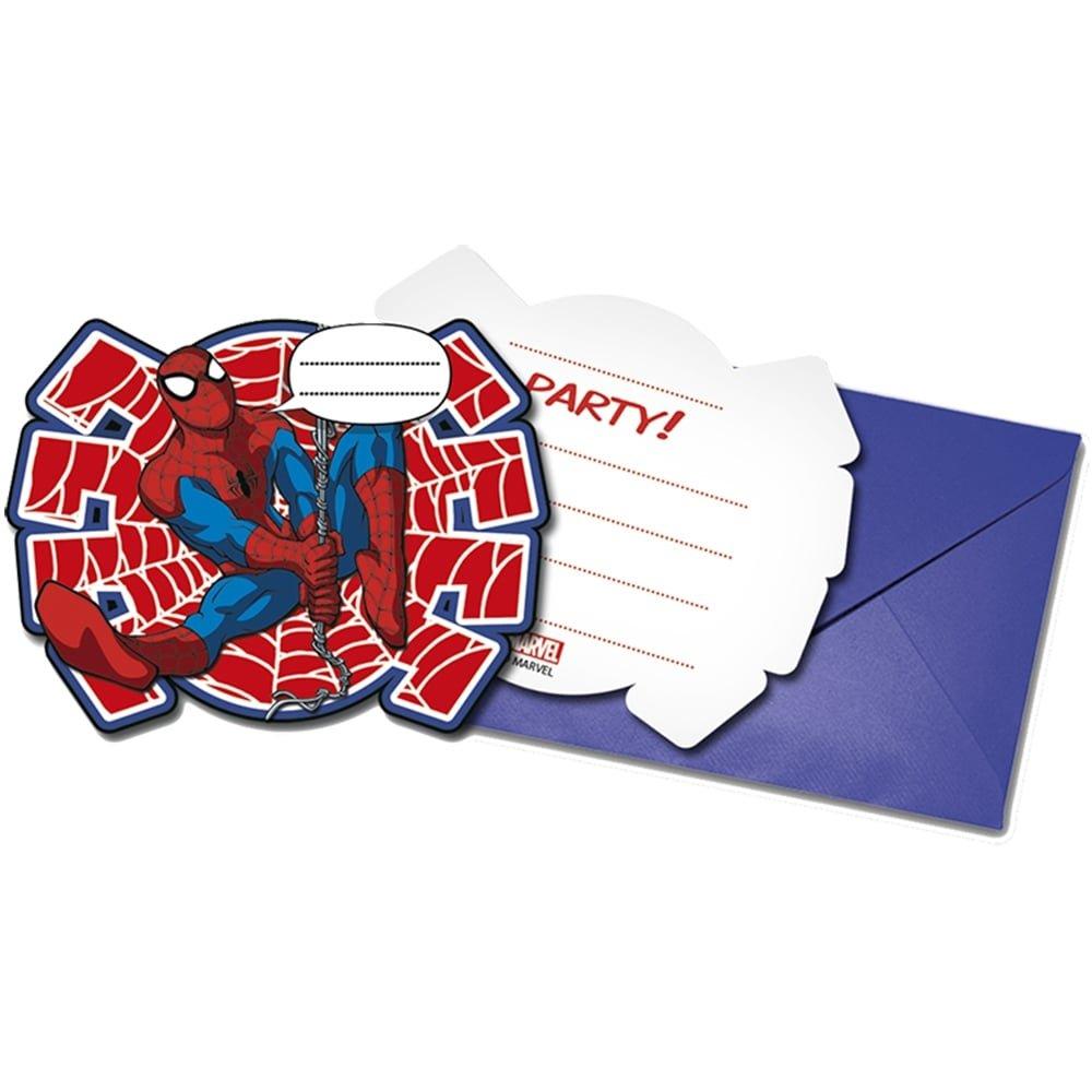 Procos 86674-Invitaciones de Spider-Man: Ultimate Power con sobre, 6 unidades de color rojo y azul