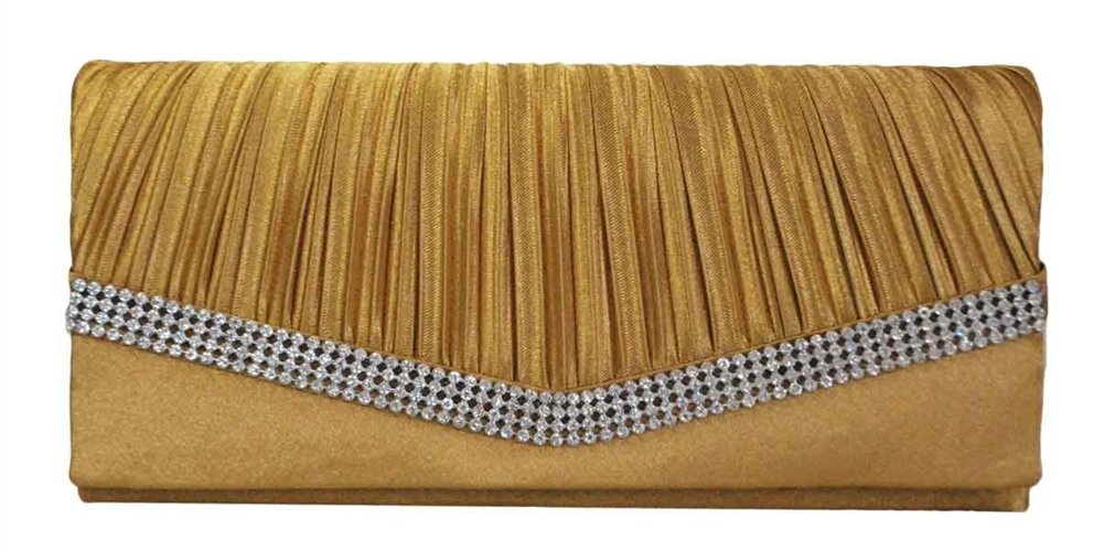Chicastic Beige Gold Pleated Satin Wedding Evening Bridal Clutch Purse With Rhinestones