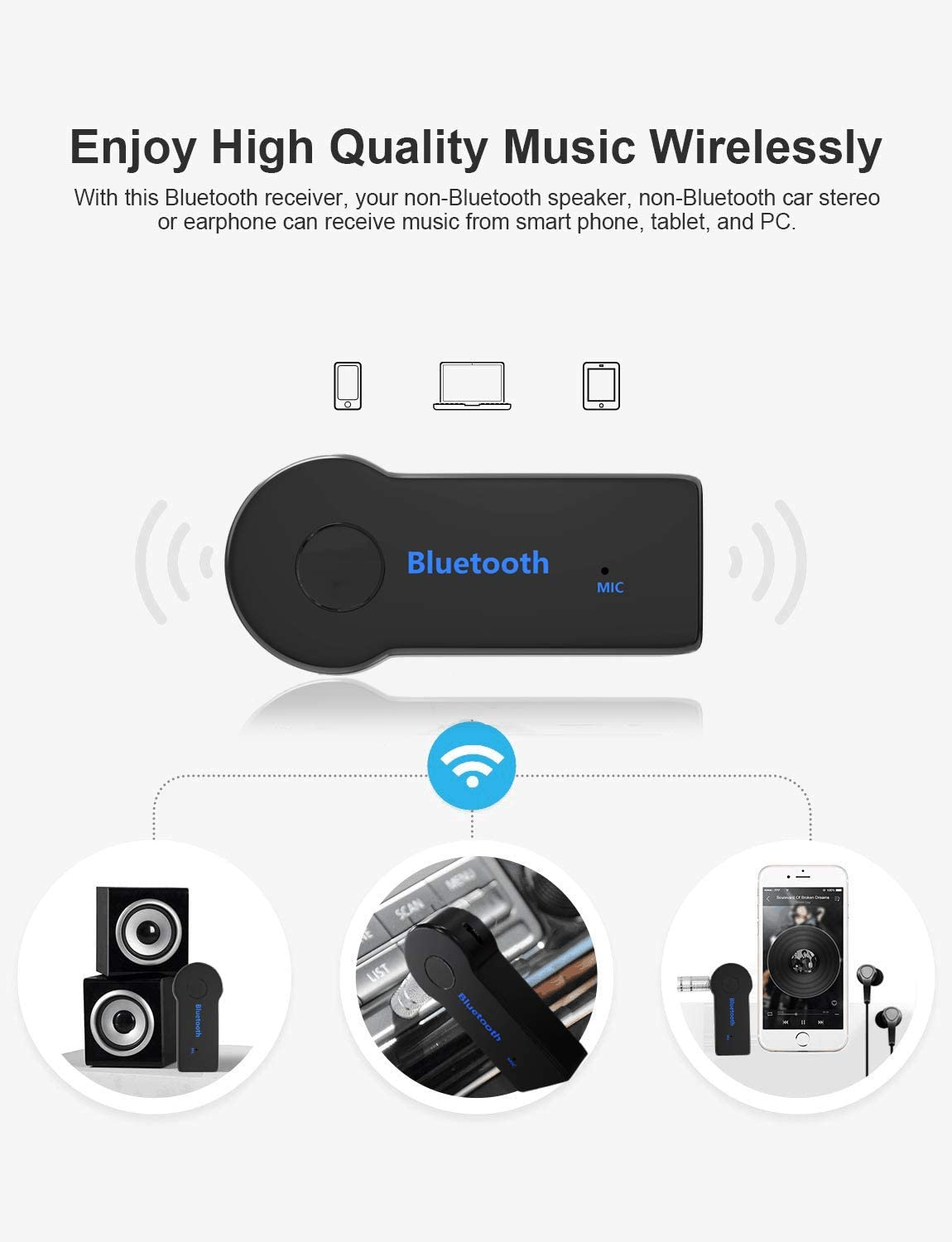 for Car//Home Stereo Sound System /… Bluetooth 4.2, A2DP, Built-in Microphone NHJN Bluetooth Receiver//Car Kit,Portable Wireless Car Audio Adapter 3.5mm Aux Stereo Output