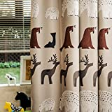 FADFAY Cute Cartoon Kids Animal Curtains Polar Bear And Elk Children Blackout Window Curtains 2Panels