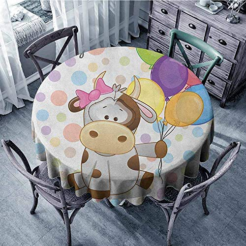 ScottDecor Beach Round Tablecloth Dinning Tabletop Decoration Kids Birthday,Baby Cow Animal and Colorful Balloons on Abstract Polka Dot Backdrop Print, Multicolor Diameter 36