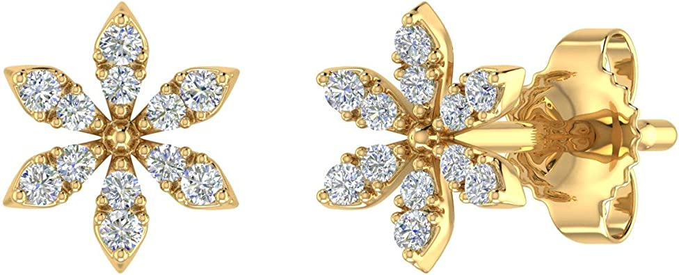 0.07 Carat Diamond Floral Stud Earrings in 10K Gold