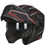ILM Motorcycle Dual Visor Flip up Modular Full Face Helmet DOT 6 Colors (S, BLACK RED)