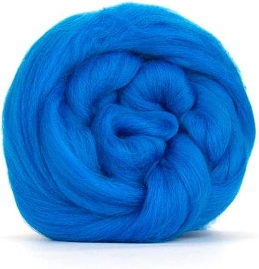 Lana de merino azul eléctrico/Tops – 50 gm. Ideal para mojado/de fieltro para fieltro de aguja, y proyectos de hilado.