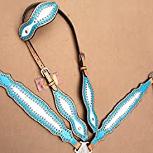 HILASON WESTERN LEATHER HORSE ONE EAR HEADSTALL BREAST COLLAR TURQUOISE WHITE