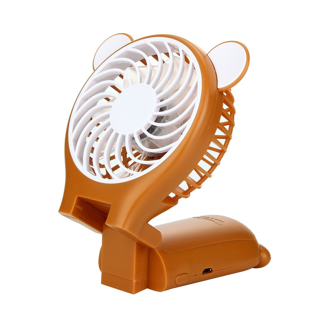 FuriGer Mini Handheld Fan, Personal Portable Fan with USB Rechargeable Battery Operated Cooling Folding Electric Fan 2 Modes for Office Room Outdoor Household Traveling - Brown