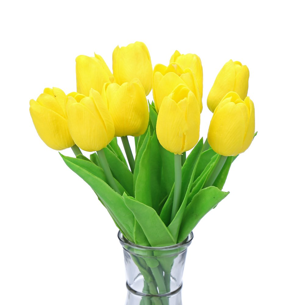 Decora 10Pieces PU Holland Mini Tulip Artificial Flower Real Touch for Wedding,Home,Hotel,Party Decoration and Holiday Gift(Yellow)