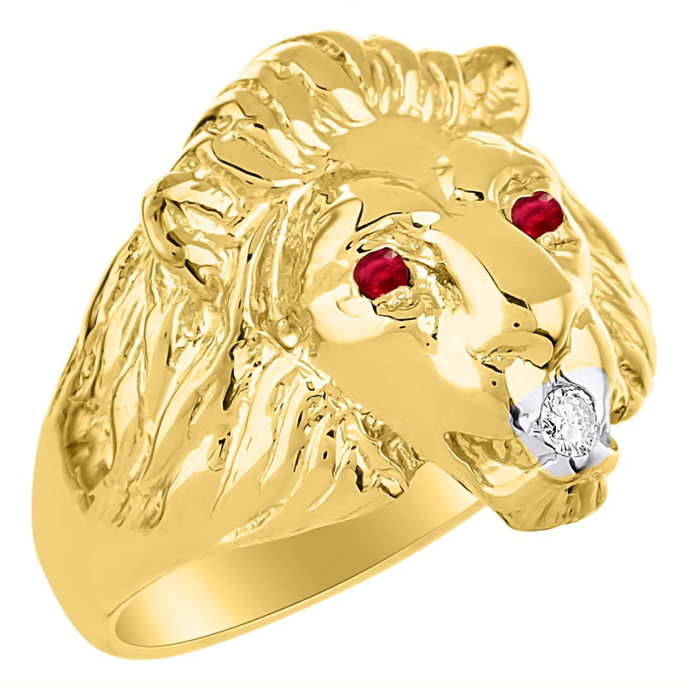 Lion Head Ring set with Genuine Diamond in mouth & Natural Rubies in eyes 14K Yellow Gold Plated over Silver by Rylos (Image #2)